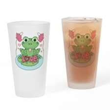 Valentine Frog with Love Drinking Glass