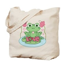 Valentine Frog with Love Tote Bag