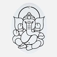 Ganesh Ganesa Ganapati 03_2c Oval Ornament