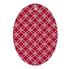 Dotted Circles SB White Dk Berry Red Oval Ornament