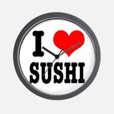 I Heart (Love) Sushi Wall Clock