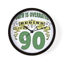 Life Begins At 90th Birthday Wall Clock