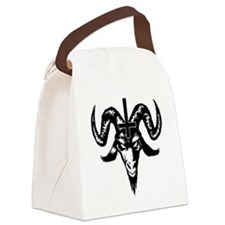 Satanic Goat Head with Cross Canvas Lunch Bag