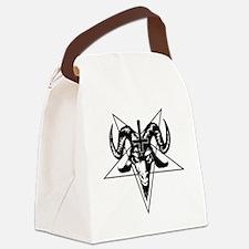 Satanic Goat Head with Pentagram Canvas Lunch Bag