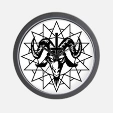 Satanic Goat Head with Chaos Star Wall Clock