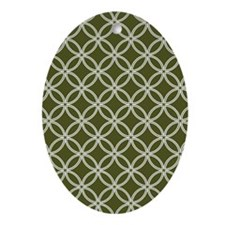 Dotted Circles TD White Dk Olive Oval Ornament