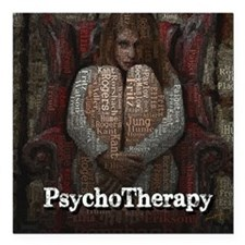 "WordPlay PsychoTherapy Square Car Magnet 3"" x 3"""