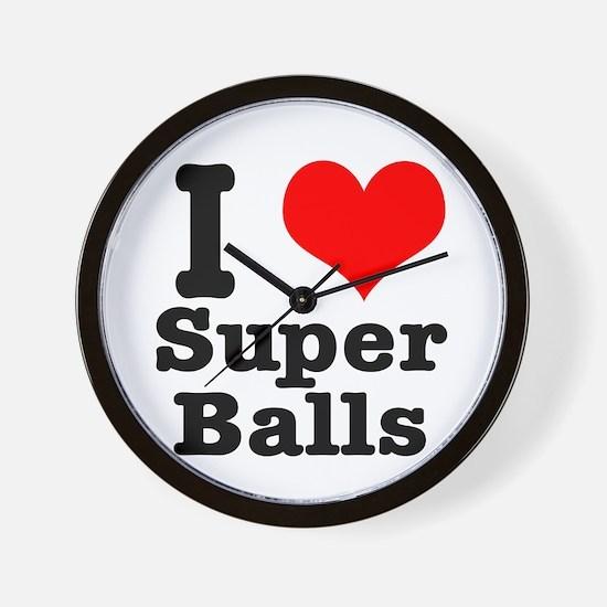 I Heart (Love) Super Balls Wall Clock