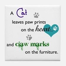 A cat leaves paw prints... Tile Coaster