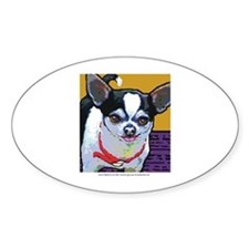 Black & White Chihuahua Oval Stickers