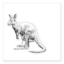"kangaroo trex deer funny Square Car Magnet 3"" x 3"""