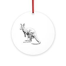 kangaroo trex deer funny tyrannosau Round Ornament