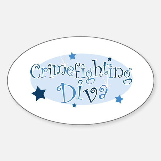 """Crimefighting Diva"" [blue] Oval Decal"