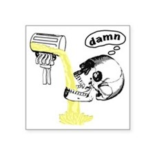 """Skull Cant Haz Beer Square Sticker 3"""" x 3"""""""