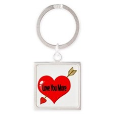 Love You More Square Keychain
