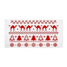 Christmas Hump Day Camel Ugly Sweater Beach Towel