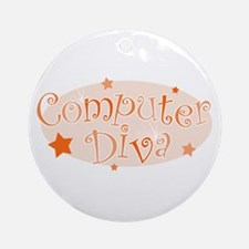 Computer Diva [orange] Ornament (Round)