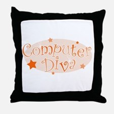 Computer Diva [orange] Throw Pillow