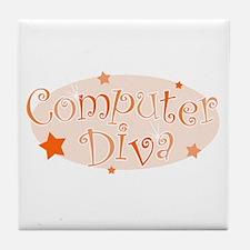 Computer Diva [orange] Tile Coaster