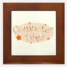 Computer Diva [orange] Framed Tile
