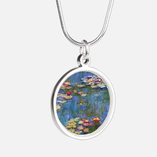 Water Lilies 1916 by Claude  Silver Round Necklace