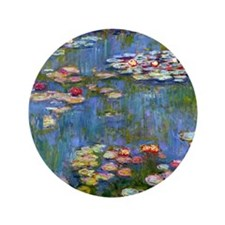"""Water Lilies 1916 by Claude Monet 3.5"""" Button"""