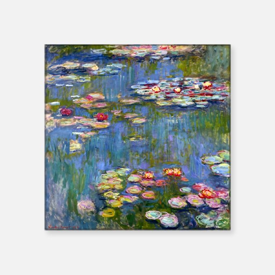"""Water Lilies 1916 by Claude Square Sticker 3"""" x 3"""""""
