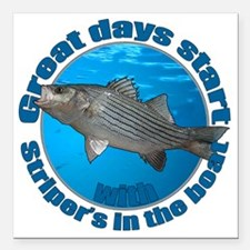 "Great days start with st Square Car Magnet 3"" x 3"""