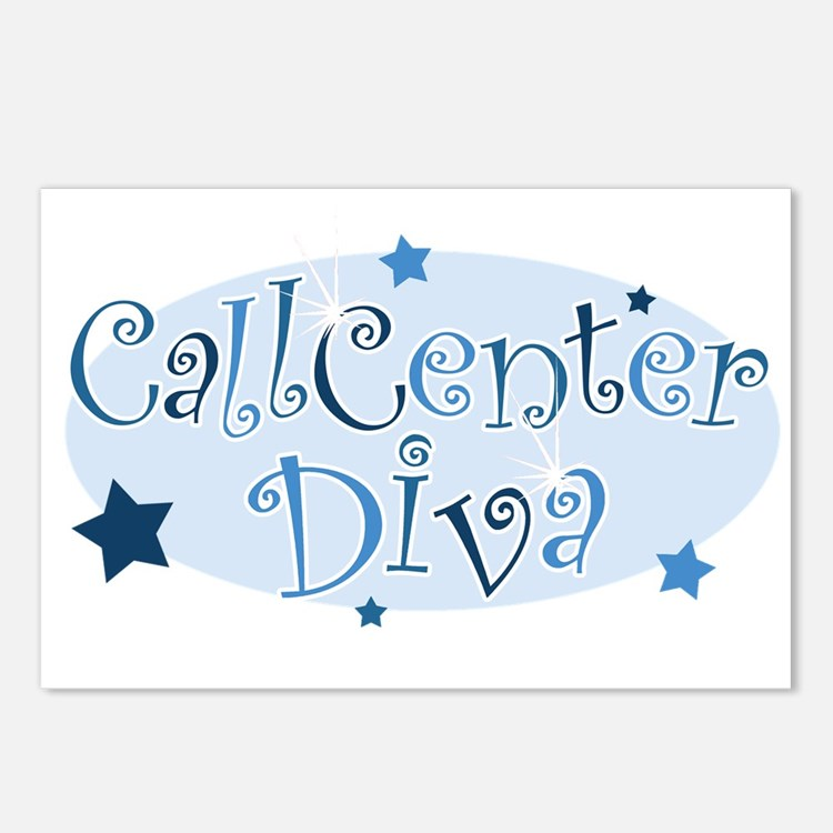 Call Center Diva [blue] Postcards (Package of 8)