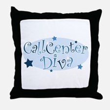 Call Center Diva [blue] Throw Pillow