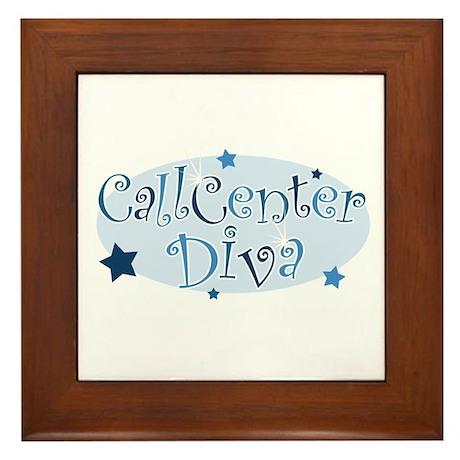 Call Center Diva [blue] Framed Tile