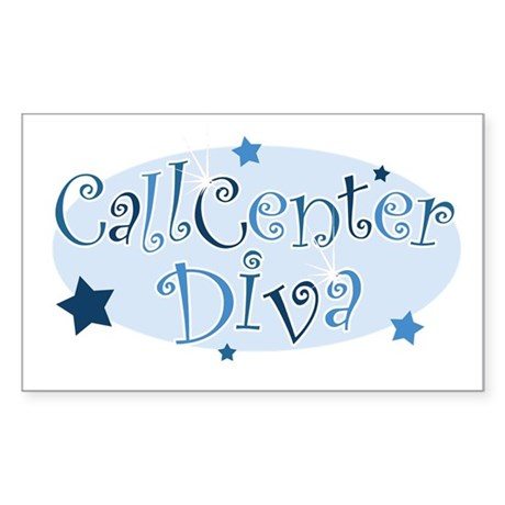 Call Center Diva [blue] Rectangle Sticker