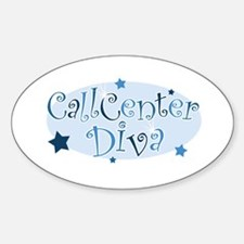 Call Center Diva [blue] Oval Decal