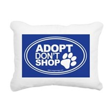 Adopt Dont Shop Blue Rectangular Canvas Pillow