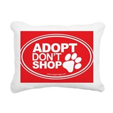 Adopt Dont Shop Red Rectangular Canvas Pillow