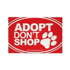 Adopt Dont Shop Red Rectangle Magnet