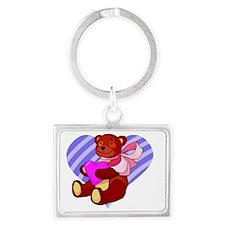 Cute Valentines Bear Landscape Keychain