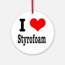 I Heart (Love) Styrofoam Ornament (Round)