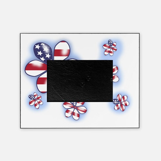 USA flag Flowers (sc) Picture Frame