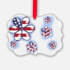 USA flag Flowers (sc) Ornament