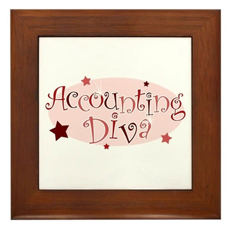 """Accounting Diva"" [red] Framed Tile"