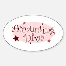 """Accounting Diva"" [red] Oval Decal"