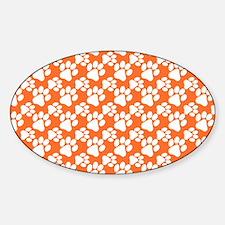 Dog Paws Clemson Orange Sticker (Oval)