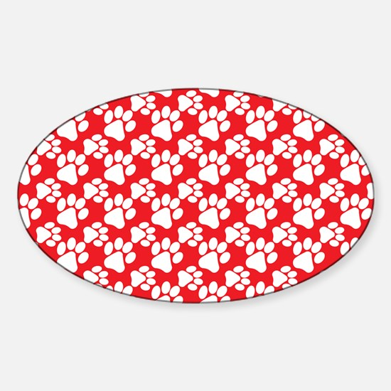 Dog Paws Red Sticker (Oval)
