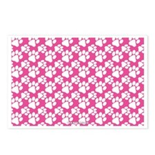 Dog Paws Bright Pink Postcards (Package of 8)