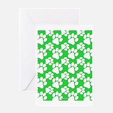 Dog Paws Green Greeting Card