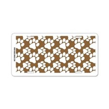 Dog Paws Brown Aluminum License Plate