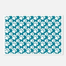 Dog Paws Teal Postcards (Package of 8)