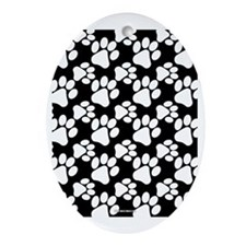 Dog Paws Black Oval Ornament