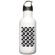 Dog Paws Black Water Bottle